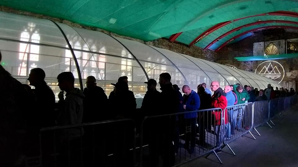 People queuing to see the Adidas Spezial exhibition at Blackburn Cotton Exchange.